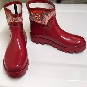 Dolce&gabbana red and pink floral rain boots